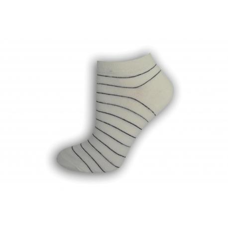 Biele ponožky s čierno-strieborným pásikom