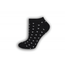 Luxusné čiene ponožky so srdiečkami
