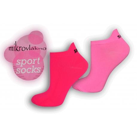 Športové neónové ponožky z mikrovlákna - ružové
