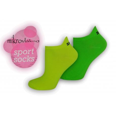 Športové neónové ponožky z mikrovlákna - zelené