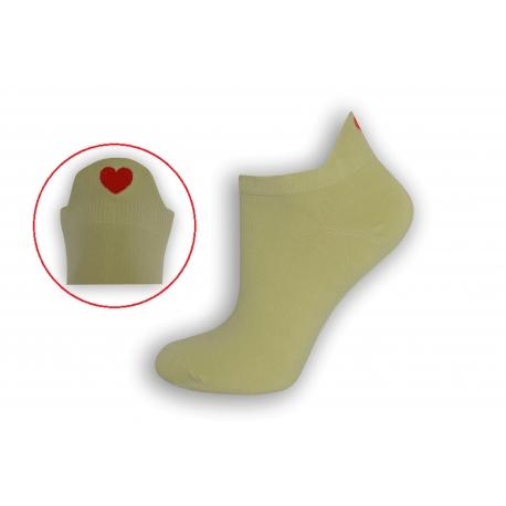 Limetkové krátke ponožky so srdiečkom