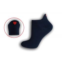 Modré krátke ponožky so srdiečkom