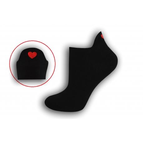 Čierne krátke ponožky so srdiečkom