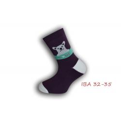 IBA 32-35! Dievčenské bavlnené ponožky - baklažánové