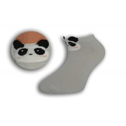 Detské sivé krátke ponožky s pandou