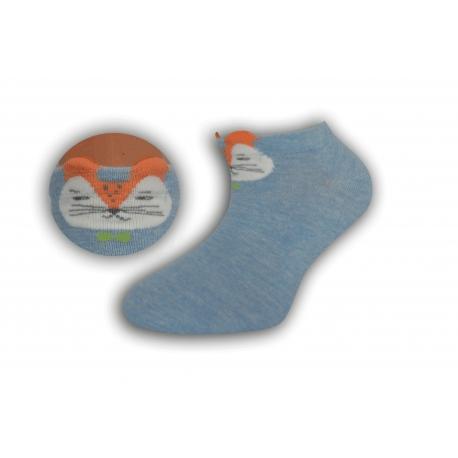 Modré krátke detské ponožky s líškou