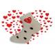 Biele detské ponožky s bodkami a srdiečkom