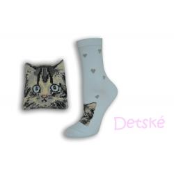 Modré detské ponožky s mačkou