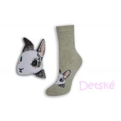 Sivé detské ponožky so zajacom