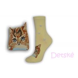 Žlté detské ponožky s mačkou