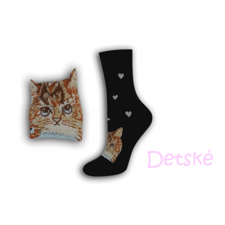 Čierne detské ponožky s mačkou