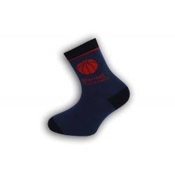 Modré detské ponožky s basketbalom
