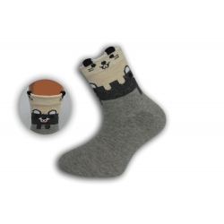 Sivé detské obrázkové ponožky