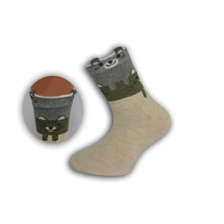 Béžové detské obrázkové ponožky