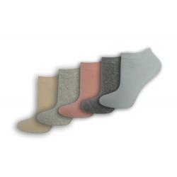 5-párov jednofarebnýck dámskych ponožiek