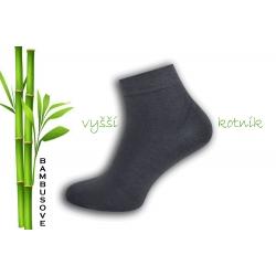 Vyšší kotník. Tm.sivé bambusové ponožky.