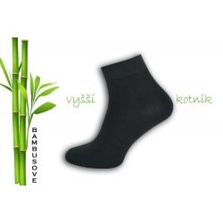 Vyšší kotník. Antracitové bambusové ponožky.