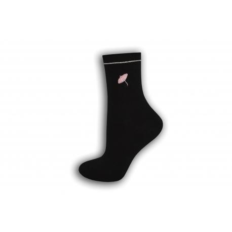Čierne dámske ponožky s dáždničkom.