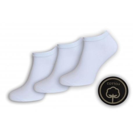 Biele bavlnené krátke ponožky. 3-páry