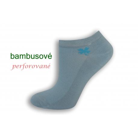 Modré bambusové ponožky so štvorlístkom