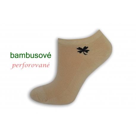 Telové bambusové ponožky so štvorlístkom