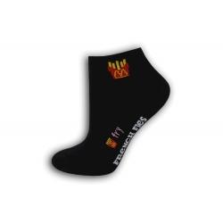 Čierne dámske ponožky s hranolkami