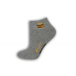Sivé dámske ponožky s hamburgerom