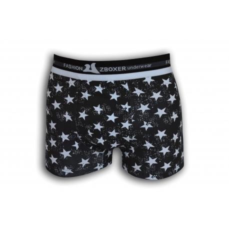 STAR. Čierne bavlnené boxerky s hviezdami
