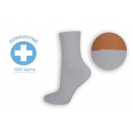 100% bavlna. Biele zdravotné dámske ponožky