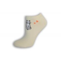 Krátke dámske ponožky s mačkou - smotanové