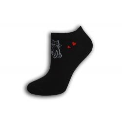 Krátke dámske ponožky s mačkou - čierne