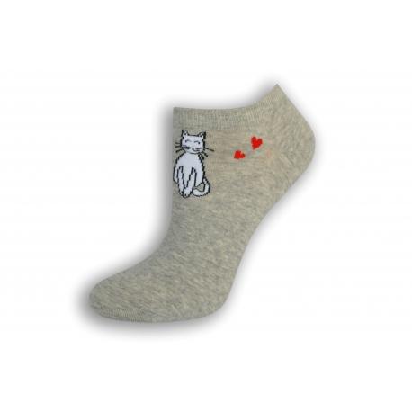 Krátke dámske ponožky s mačkou - sivé
