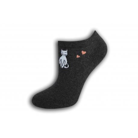 Krátke dámske ponožky s mačkou - tmavo - sivé