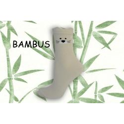 Sivé bambusové ponožky s tváričkou