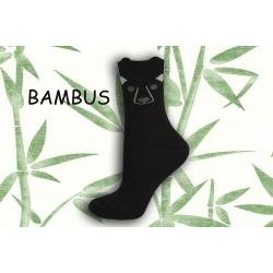 Čierne bambusové ponožky s tváričkou