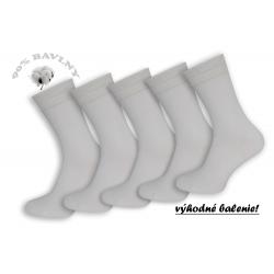 5-párov. Biele 90%-né bavlnené ponožky