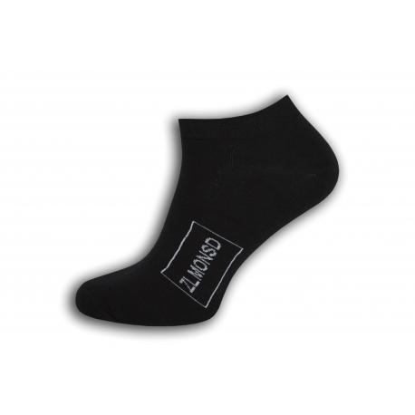 Čierne kotníkové ponožky s logom