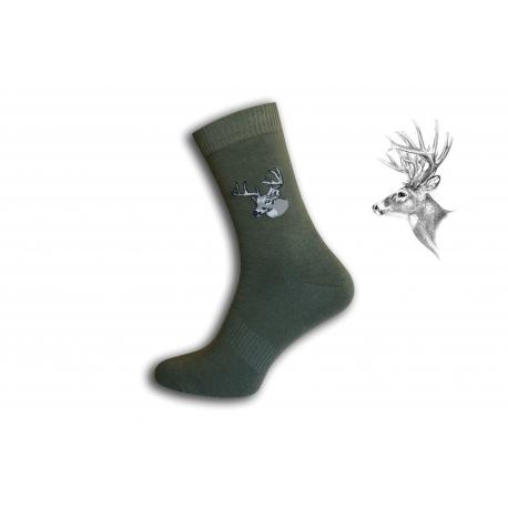 Zelené pánske ponožky s jeleňom