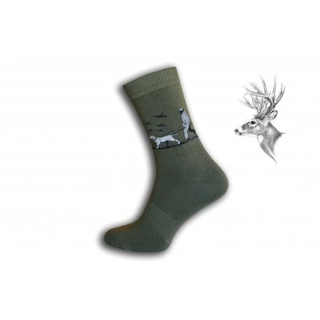 Zelené ponožky pre poľovníka - so psom