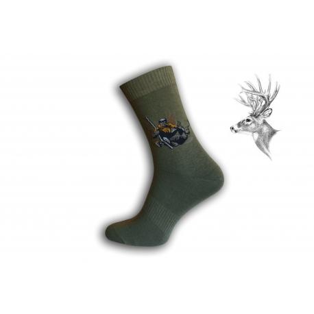 Zelené ponožky pre poľovníka - s trofejou