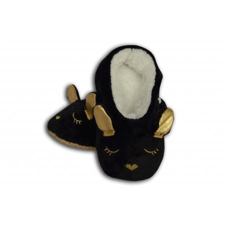 Čierne detské nízke papuče