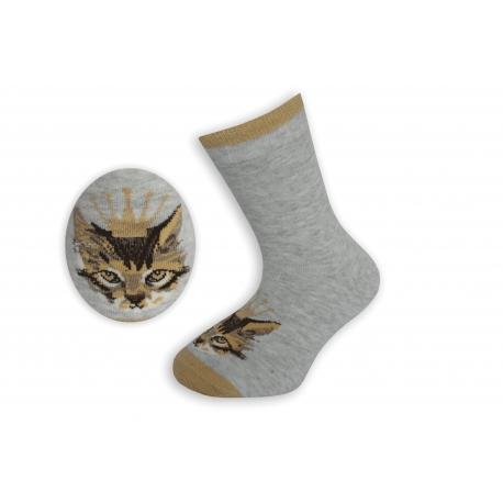 Sivo-zlaté detské ponožky s mačkou