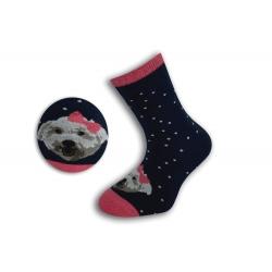 Modré detské ponožky so psíkom