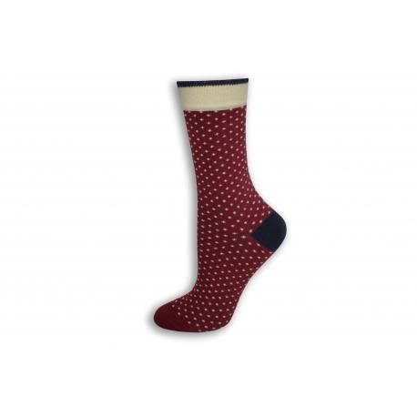 Bordové bodkované dámske ponožky