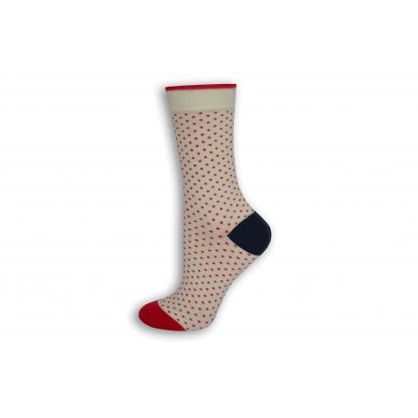Biele bodkované dámske ponožky