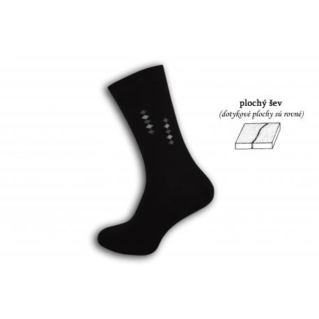 Čierne ponožky s plochým švom - pika