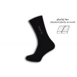 Čierne ponožky s plochým švom  a vzorom