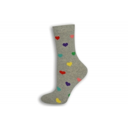 Sivé dámske ponožky so srdiečkami