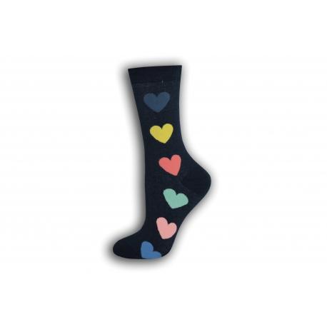 Modré dámske ponožky so srdiečkami
