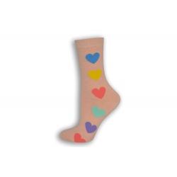 Ružové dámske ponožky so srdiečkami